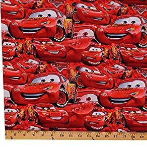 Disney Cars Cotton Fabric - Cotton Cars Packed McQueen Cartoons Disney Cotton Fabric Print by the Yard 9782-D65018