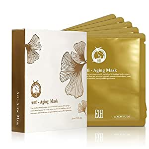 Anti Aging Facial Masks by ERH with Intensive Care Serum to Help Reduce the Appearance of Fine Lines and Wrinkles. New Version Exclusive to Amazon with Expanded Mask Coverage. 5-Mask Pack