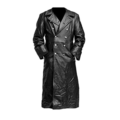 6f05d3a29 Mens German Classic Officer WW2 Military Uniform Black Leather Trench Coat