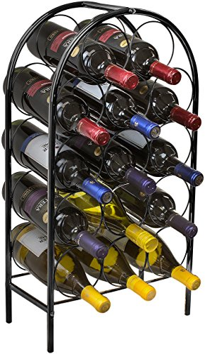 Sorbus Wine Rack Stand Bordeaux Chateau Style - Holds 14 Bottles of Your Favorite Wine - Elegant Storage for Kitchen, Dining room, Bar, or Wine Cellar (14 Bottle - (Black Wine Bottle)