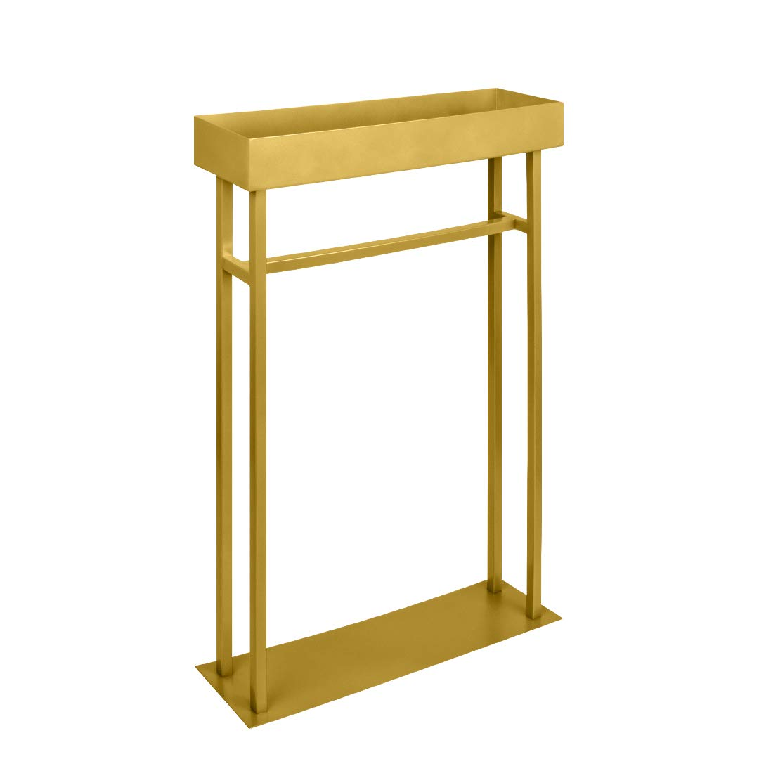 Koyal Wholesale Modern Gold Rectangular Tall Metal Floral Table Centerpiece Stand, Flower Stand Vase, Candle Centerpiece Table Stand, Geometric Pedestal Stand Display for Wedding, Candles, Home Decor