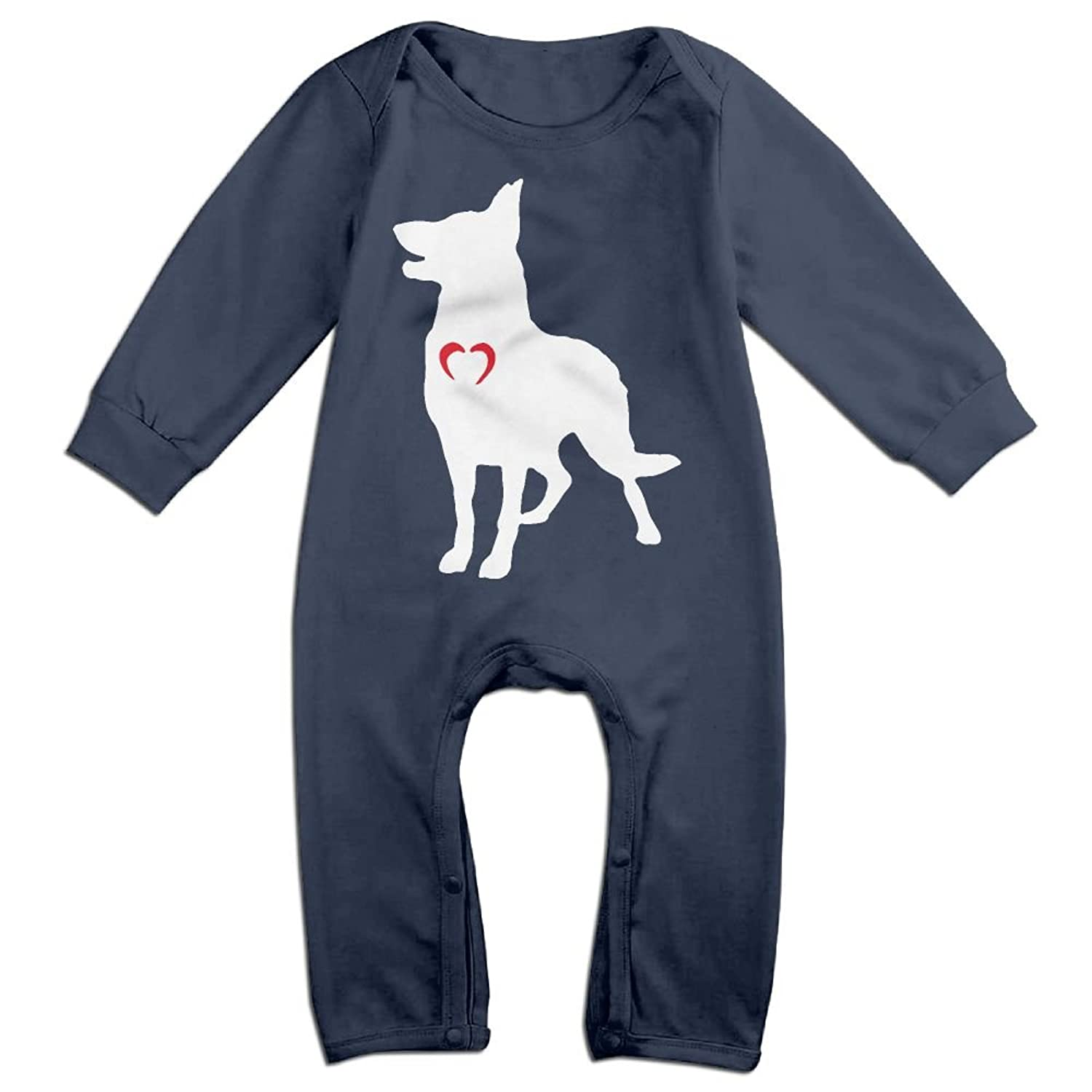 Mri-le1 Baby Girls Long Sleeved Coveralls Heart My Boston Terrier Infant Long Sleeve Romper Jumpsuit