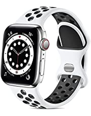 Lerobo Sport Band Compatible with Apple Watch Band 38mm 40mm 42mm 44mm for Women Men, Soft Silicone Sport Breathable Wristband Replacement Strap Compatible for Apple Watch SE iWatch Series 6 5 4 3 2 1