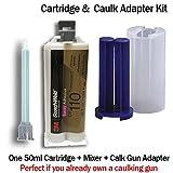 3M ScotchWeld DP110 - Flexible Temp Resistant 10-Minute Epoxy for Plastic & Metal (50ml/1.7oz + Caulk Gun Adapter Kit)