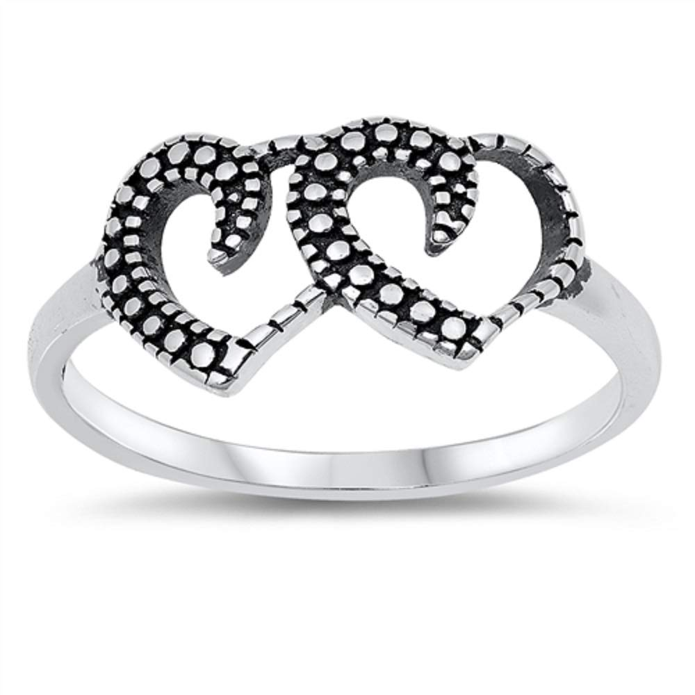 Princess Kylie Oxidized Sterling Silver Double Open Heart Design Ring
