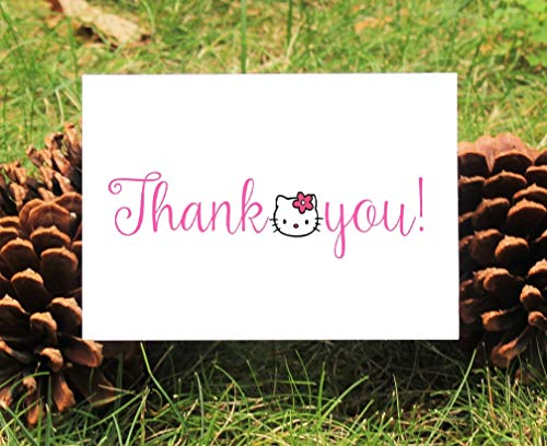Set of 10 Hello Kitty Thank You Cards With Envelopes For Baby Shower, Birthday, -
