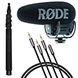 Rode Videomic Pro-R+ Plus On-Camera Shotgun Condenser Microphone, Compact Mini Boom Pole For Shotguns Microphones, Jumbl 3.5mm Stereo Audio Cable - Male to Male and Male to Female