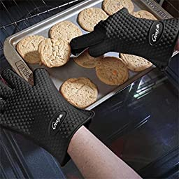 BBQ Gloves, Amytalk Heat Resistant Silicone BBQ Grill Oven Gloves for Cooking, Baking, Smoking & Potholder (Black)