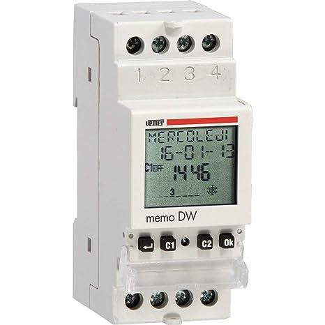 Vemer ve339800 Interruptor Horario Digital Memo DW Diarios, con IR, Gris Claro
