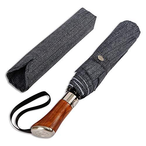 Luxury Herringbone Fabric - Balios (Designed in UK) Travel Umbrella | Luxurious Golden Rosewood Handle | Auto Open & Close | Windproof Frame | Single Canopy | Automatic Folding Umbrella | Men's & Ladies (Herringbone)