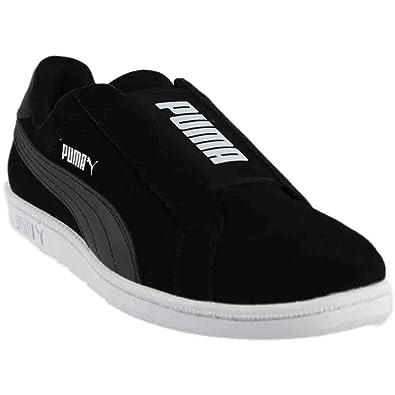 Puma Smash Mens Black Leather Slip On Sneakers Shoes 8  Amazon.co.uk ... 9df805af0