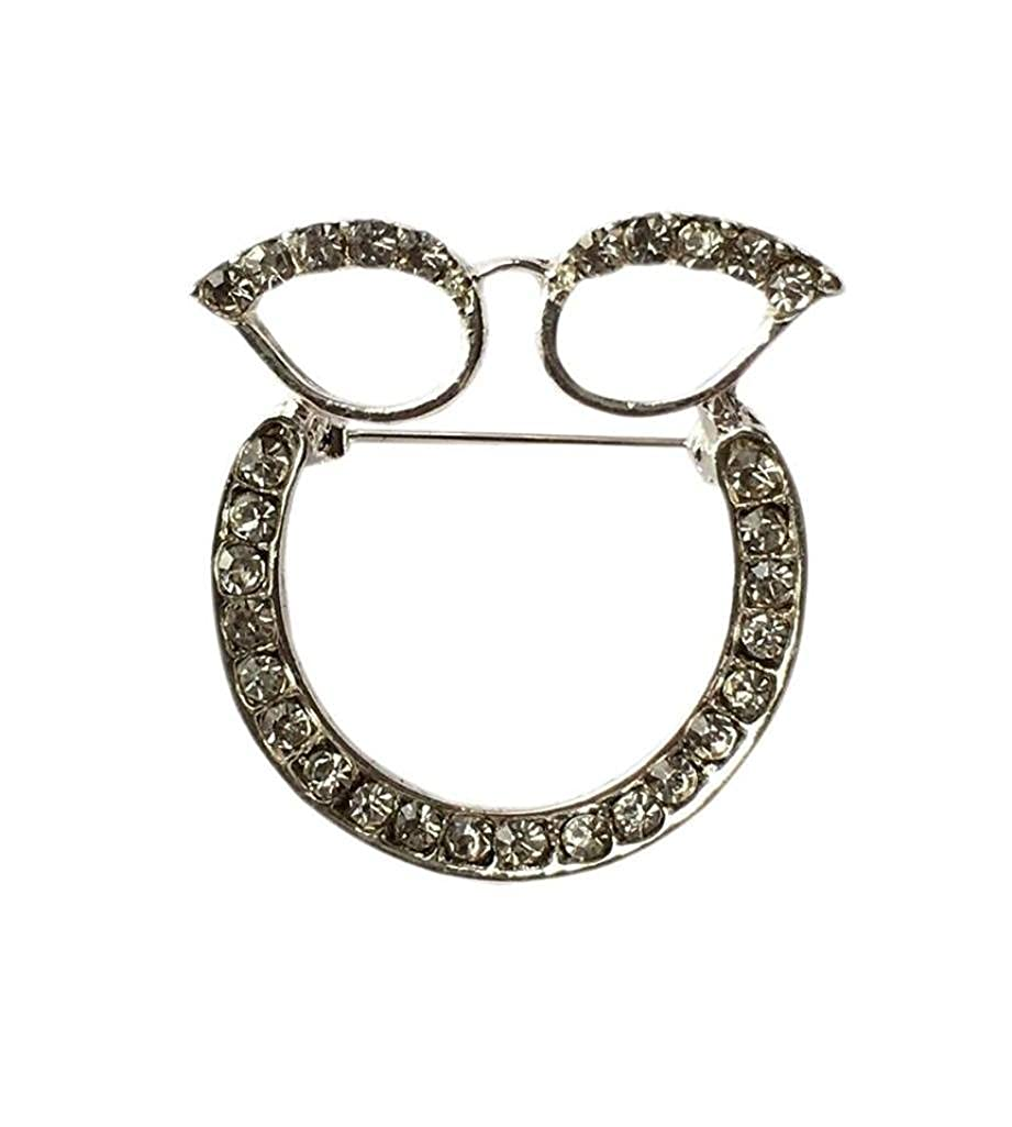 5e6a19dfeee Stunning Silver Plated Rhinestone Crystal Glasses Sunglasses Holder Brooch  Pin Spectacle Hanger  Amazon.co.uk  Clothing