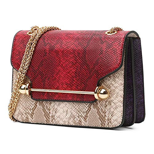 Droyer Snake Embossing Soft Wristlet Clutch Handbag with Chain Strap Shoulder Bags