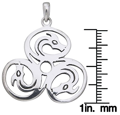 Jewelry Trends Sterling Silver Celtic Trinity Knot Triple Dragons Pendant