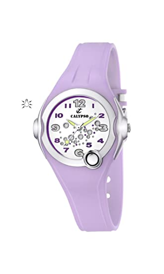 Calypso Watches Watches K5562/4 - Reloj analógico de Cuarzo para niña, Correa de Goma Color Morado: Amazon.es: Relojes