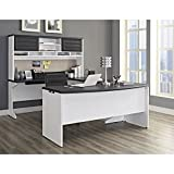 Altra Furniture Pursuit U-Shaped Desk with Hutch Bundle, White/Gray