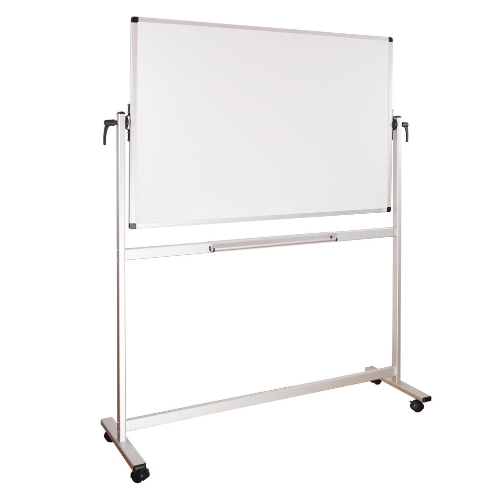 Xboard School Office Mobile 48 x 36 inch Magnetic Dry Erase Board on Wheels, Double-Sided Rolling Whiteboard with Aluminum Stand, 3' x 4'