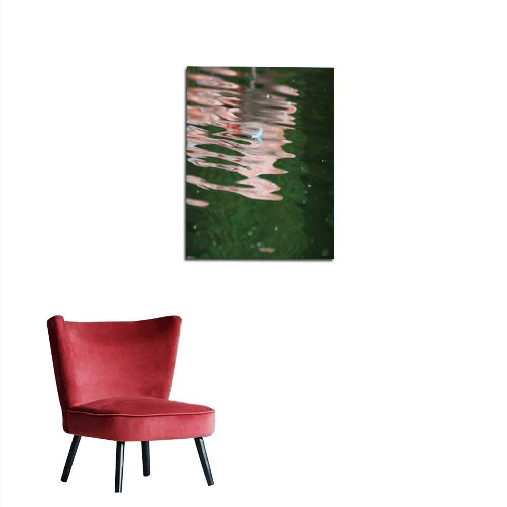longbuyer Wall Paper Feather of Flamingo with Black Background Mural 20x28