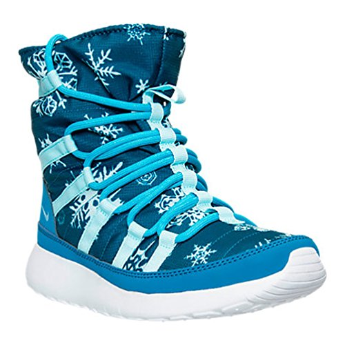 NIKE Youth Girls Roshe One Hi Print Shearing Boots Blue/White