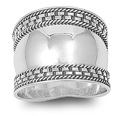 Sterling Silver Bali Rope (Sterling Silver Women's Bali Rope Ring Wide 925 Band Fashion Design Size 10)