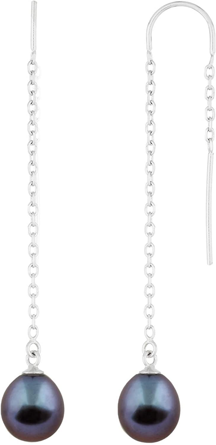 Handpicked AA Sterling Silver Rhodium-Plated Key Shaped Pendant//Chain Freshwater Cultured Pearls CZ 17 Chain