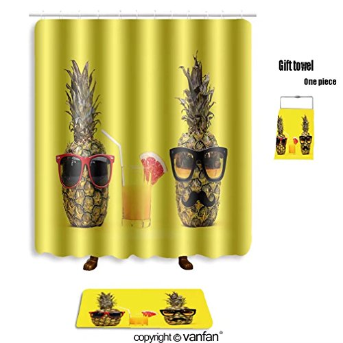 vanfan bath sets with Polyester rugs and shower curtain two fun fashion pineapples with sunglasses an shower curtains sets bathroom 36 x 72 inches&23.6 x 15.7 inches(Free 1 towel and - Translucent Or Transparent Is Sunglasses