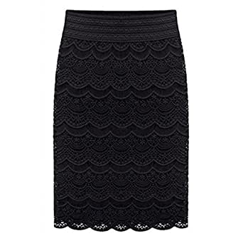 AOMEI Women's Lace High Waist Pencil Skirts Black Size XS