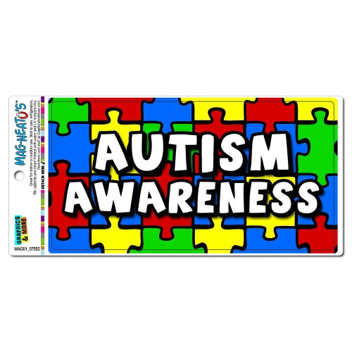 Autism Awareness Background Puzzle MAG-NEATO'S(TM) Automotive Car Refrigerator Locker Vinyl Magnet - Autism Puzzle Car Magnet
