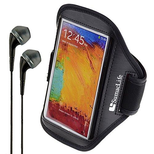 SumacLife Matte Leather Workout Armband for Motorola Google Nexus 6 / Droid Turbo / Moto G / Moto X + VanGoddy Headphones (Black)