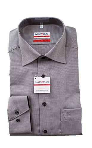 MARVELiS Hemd, Modern Fit, Bügelfrei, Grau gemustert