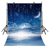 5x7Ft Starry Sky Backdrop Beautiful Night Sky Photography Backdrop Cloud Layer Sickle Month Backdrop Photo Studio Porps VV386