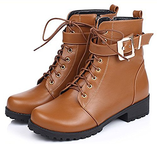 Yellow IDIFU Comfy Chunky Booties Buckled Combat Ankle Low Lace Heel Zipper Women's Up rf4qr67