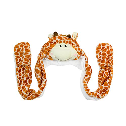 [Giraffe Unisex Polyester Plush Zoo Animal Winter Hat Beanie Aviator Style (Long)] (A Present Costume)