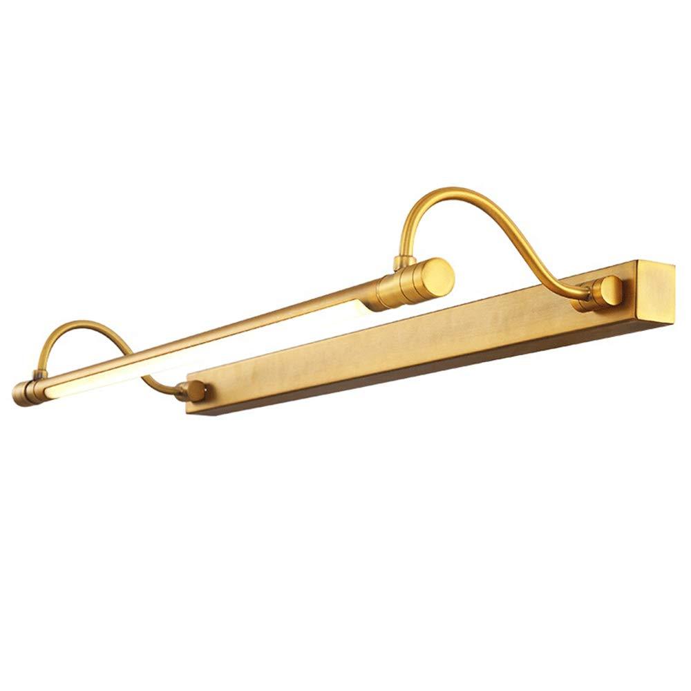 MITOYO LIGHT LED Vintage Spiegelleuchte Kupfer Badspiegel Lampe Schminklampe 8W Warmweiß Schrankleuchte Winkel einstellbar Spiegel-Aufbau-Leuchte Anti-Fog Wasserdicht Schminktisch Produktlänge 54CM