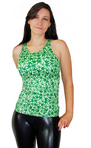 Weed-Snob Women's All Over Marijuana Pot Leaf Print Tops (One-Size, Tank)