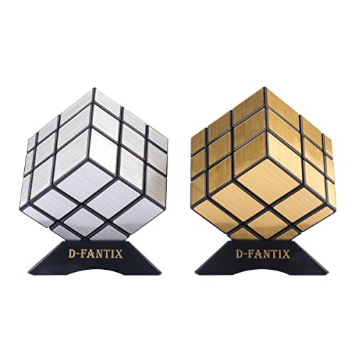 (D-FantiX Shengshou Mirror Cube Set Mirror Block 3x3 Speed Cube Bundle Puzzle Silver Golden Pack of 2)