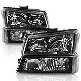 Headlights Assembly for 2003-2006 Chevy Avalanche / 2003-2007 Chevrolet Silverado 1500 2500 3500 1500HD 2500HD Pickup Headlamp