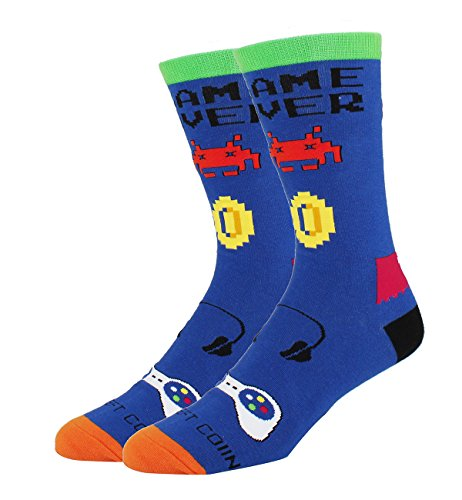 Men's Novelty Funny Game Pattern Crew Socks Fun Geek Cotton Player Socks in Blue