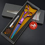 7.0 Inches Professional Pet Grooming Scissors Dog Thinning Scissors,Dog grooming Chunkers 19 teeth (rainbow)