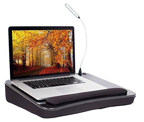 Sofia + Sam Lap Desk with USB Light (Black) - Memory Foam Cushion - Supports Laptops Up to 17 Inches