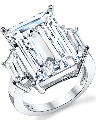 (Kim Kardashian Sterling Silver Engagement Wedding Ring with Large Carat Emerald Cut Cubic Zirconia CZ 9)