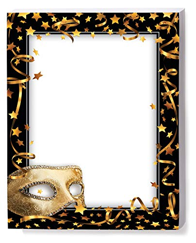 Mardi Gras Mask Border Papers, 8.5 x 11 Inch, 28lb Stock, 100 Count ()