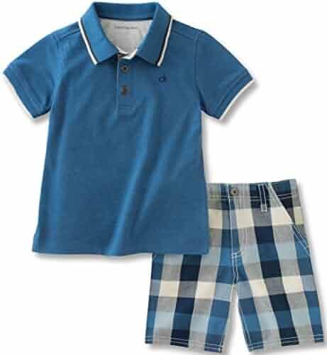 Calvin Klein Baby Boys' 2 Pieces Polo Set-Plaid Shorts, Blue, 24M