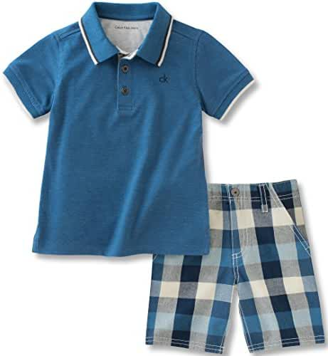 Calvin Klein Baby Boys' 2 Pieces Polo Set-Plaid Shorts, Blue