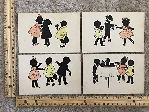 Four Artwork Postcards Silhouette Children at a Party~118926