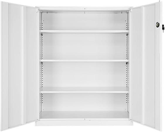 Panana Oficina Archivo Gabinete hipopótamo Escritorio Alta Oficina Armario de Puertas correderas, 3 estantes Ajustables – Color Blanco: Amazon.es: Hogar