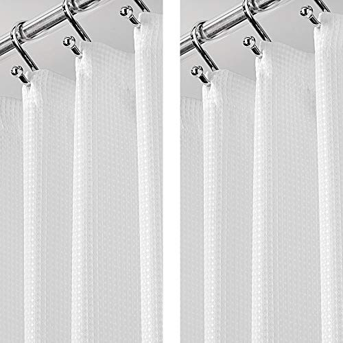 mDesign - 2 Pack - Extra Long Light Weight Waffle Weave Polyester Shower Curtain with Reinforced Buttonholes, for Bathroom Showers and Bathtubs - Elegant Woven Geometric Square - 72