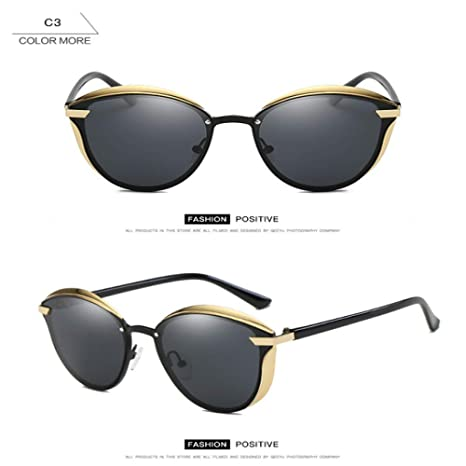 Yangjing-hl Gafas de Sol polarizadas Estilo de Mujer Metal ...