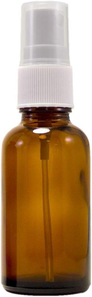 w//White Sprayer 1 oz Amber Boston Round Glass Bottle with Fine Mist sprayer 12//bx
