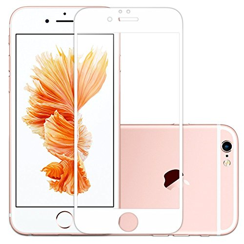 QheTrend iPhone 6 / 6s Screen Protector 3D 100%Full Coverage Tempered Glass Anti-Scratch HD Clear Accurate Ballistic Screen Replacement(White)